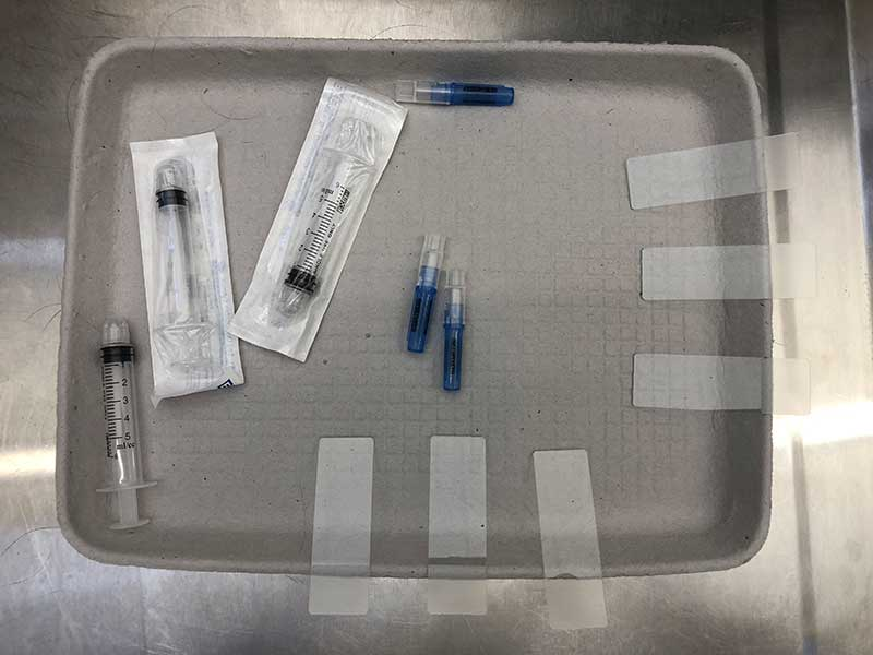 Medical equipment on a tray